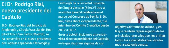 El Dr. Rodrigo Rial, nuevo presidente del Capítulo Español de Flebología y Linfología.