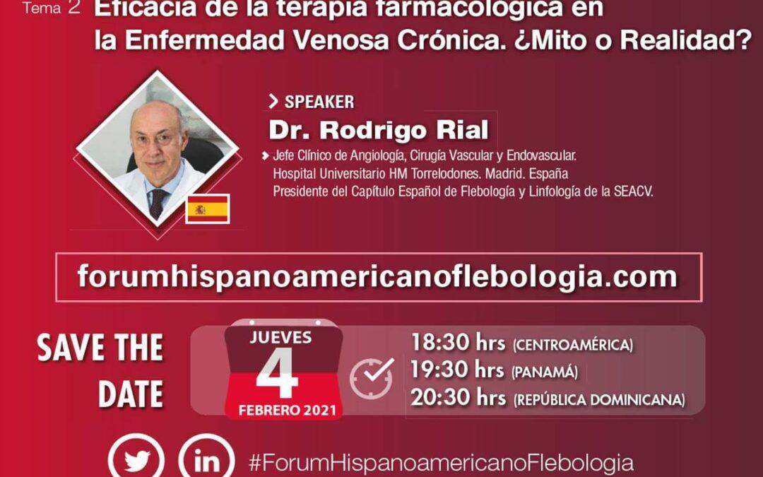 El Dr. Rodrigo Rial ponente en la primera Webinar del recién creado Forum Hispanoamericano de Flebología