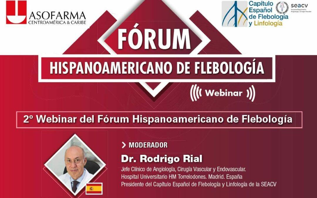 El Dr. Rial como moderador en la segunda Webinar del Fórum Hispanoamericano de Flebología.
