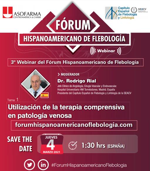 Tercera Webinar del Fórum Hispanoamericano de Flebología.